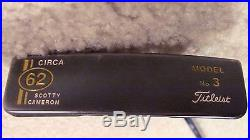 MINT SCOTTY CAMERON CIRCA 62 #3 PUTTER ORIG. HEAD COVER WithNEW GOLD TOOL 35