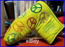 Rare Scotty Cameron Lime Peace Sign Putter Headcover Cover & Gold Pivot Tool