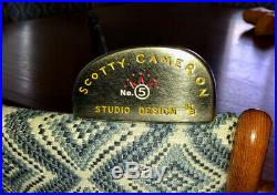 Scotty Cameron Putter Studio Design # 5 Lb Black Pearl W Hc And Divot Tool